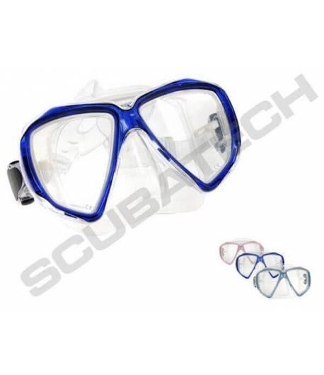 """Maske """"Viper"""" durchsichtig Blauer Rahmen"""