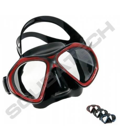 Maske Viper Schwarz mit Roten Rahmen